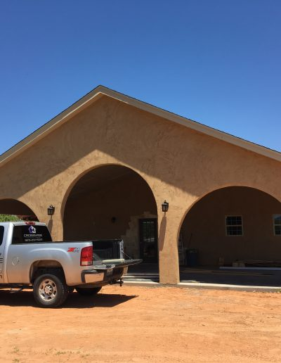 front view adobe house crosswise custom homes west texas
